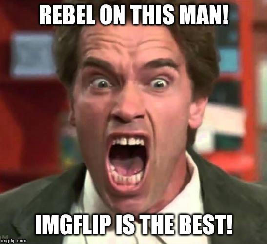 Arnold yelling | REBEL ON THIS MAN! IMGFLIP IS THE BEST! | image tagged in arnold yelling | made w/ Imgflip meme maker