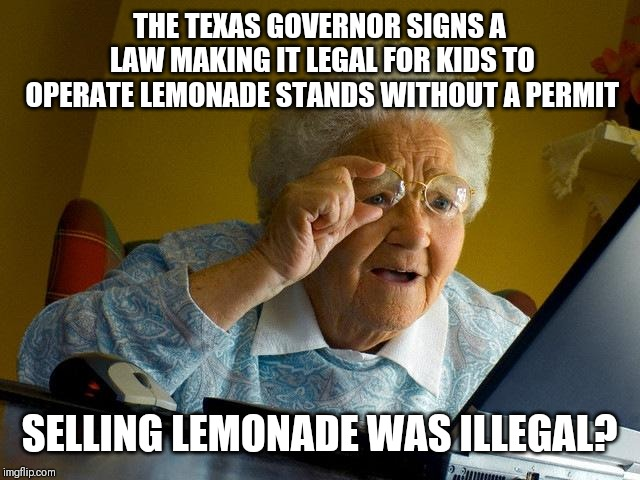 Grandma Finds The Internet Meme | THE TEXAS GOVERNOR SIGNS A LAW MAKING IT LEGAL FOR KIDS TO OPERATE LEMONADE STANDS WITHOUT A PERMIT SELLING LEMONADE WAS ILLEGAL? | image tagged in memes,grandma finds the internet | made w/ Imgflip meme maker