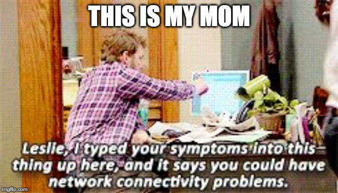 Dumb Dwyer | THIS IS MY MOM | image tagged in network connectivity problens | made w/ Imgflip meme maker