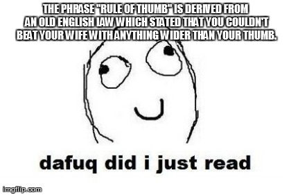 "Dafuq Did I Just Read Meme | THE PHRASE ""RULE OF THUMB"" IS DERIVED FROM AN OLD ENGLISH LAW WHICH STATED THAT YOU COULDN'T BEAT YOUR WIFE WITH ANYTHING WIDER THAN YOUR TH 