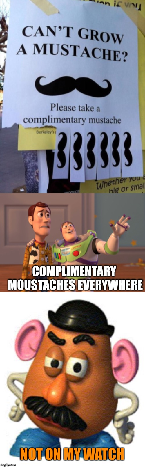 Mr Potato head is not so complimentary |  COMPLIMENTARY MOUSTACHES EVERYWHERE; NOT ON MY WATCH | image tagged in mr potato head,memes,x x everywhere,toy story,moustache,free | made w/ Imgflip meme maker