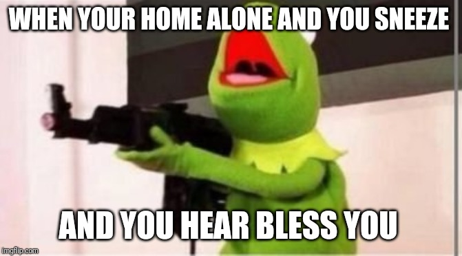WHEN YOUR HOME ALONE AND YOU SNEEZE AND YOU HEAR BLESS YOU | image tagged in machine gun kermit | made w/ Imgflip meme maker