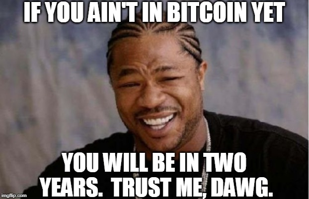Yo Dawg Heard You Meme | IF YOU AIN'T IN BITCOIN YET YOU WILL BE IN TWO YEARS.  TRUST ME, DAWG. | image tagged in memes,yo dawg heard you | made w/ Imgflip meme maker