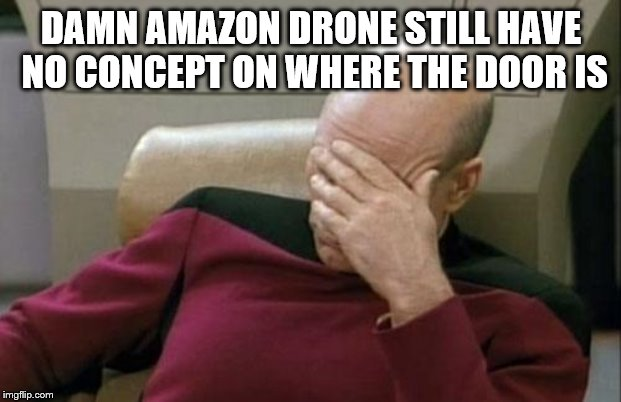 Captain Picard Facepalm Meme | DAMN AMAZON DRONE STILL HAVE NO CONCEPT ON WHERE THE DOOR IS | image tagged in memes,captain picard facepalm | made w/ Imgflip meme maker