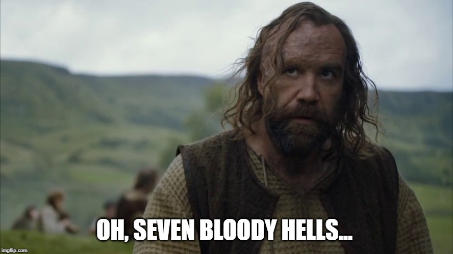 Sandor Clegane - seven hells | OH, SEVEN BLOODY HELLS... | image tagged in game of thrones,sandor clegane,the hound,frustrated | made w/ Imgflip meme maker