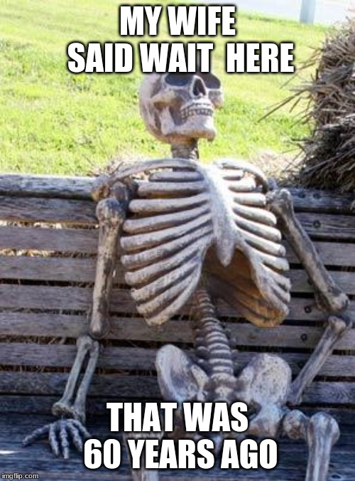 Waiting Skeleton Meme | MY WIFE SAID WAIT  HERE THAT WAS 60 YEARS AGO | image tagged in memes,waiting skeleton | made w/ Imgflip meme maker