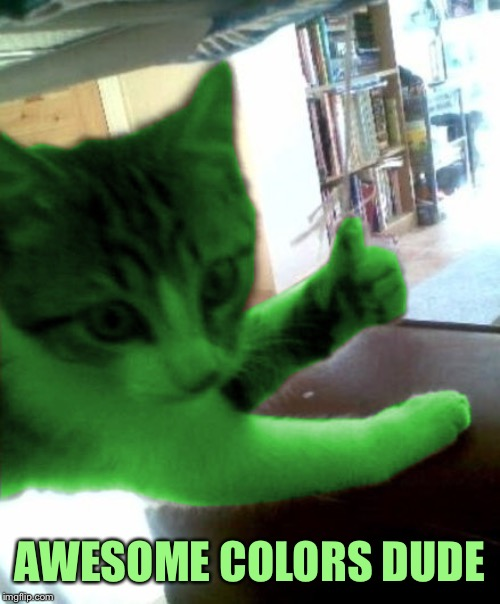thumbs up RayCat | AWESOME COLORS DUDE | image tagged in thumbs up raycat | made w/ Imgflip meme maker
