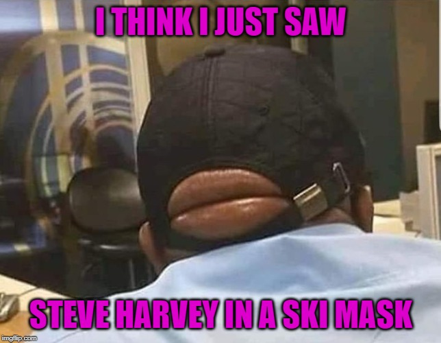 Damn...just damn... | I THINK I JUST SAW STEVE HARVEY IN A SKI MASK | image tagged in steve harvey,memes,ski mask,funny,robber,damn | made w/ Imgflip meme maker