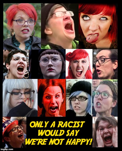 This Radical Left, Liberal, Antifa, SJWs aren't a very Happy Lot | ONLY A RACIST WOULD SAY WE'RE NOT HAPPY! | image tagged in vince vance,liberals,far left,social justice warriors,antifa,racist | made w/ Imgflip meme maker