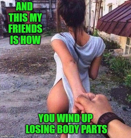 Never trust a big butt and smile!!! | AND THIS MY FRIENDS IS HOW YOU WIND UP LOSING BODY PARTS | image tagged in losing body parts,memes,led astray,funny,suckers,that girl is poison | made w/ Imgflip meme maker