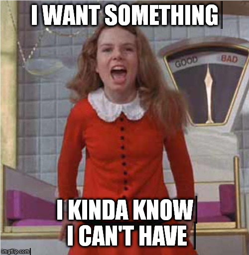 Veruca Salt | I WANT SOMETHING I KINDA KNOW I CAN'T HAVE | image tagged in veruca salt | made w/ Imgflip meme maker