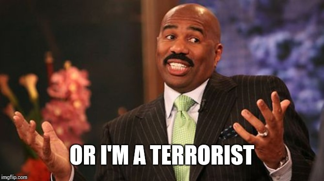 Steve Harvey Meme | OR I'M A TERRORIST | image tagged in memes,steve harvey | made w/ Imgflip meme maker