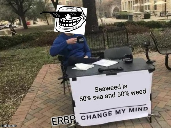 Change My Mind Meme | Seaweed is 50% sea and 50% weed ERBP | image tagged in memes,change my mind | made w/ Imgflip meme maker