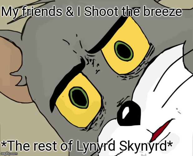 Unsettled Tom | My friends & I Shoot the breeze *The rest of Lynyrd Skynyrd* | image tagged in memes,unsettled tom,lynyrd skynyrd,rock,classic rock | made w/ Imgflip meme maker