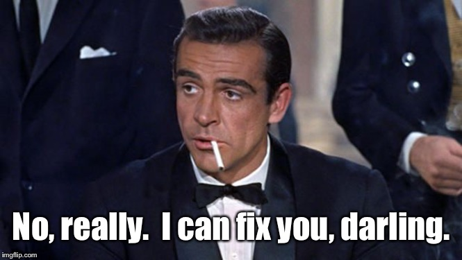 James Bond | No, really.  I can fix you, darling. | image tagged in james bond | made w/ Imgflip meme maker