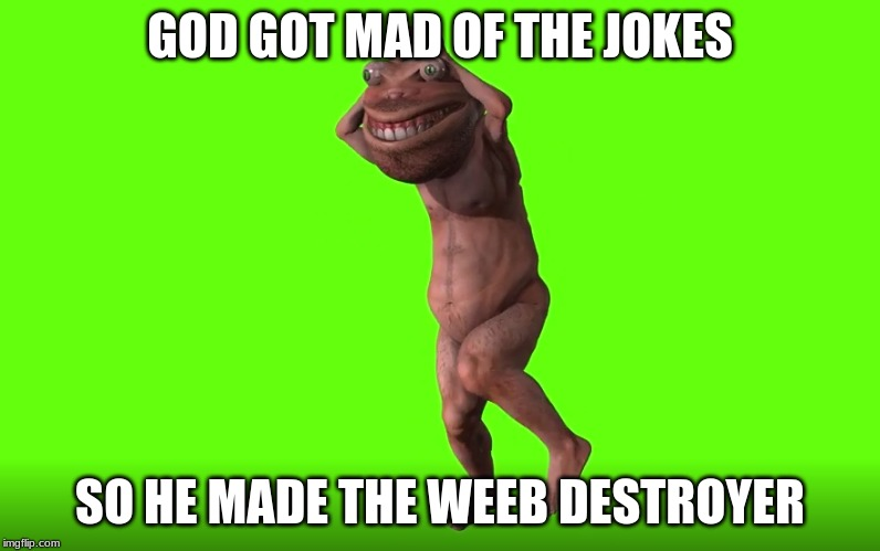 The Anime Destroyer | GOD GOT MAD OF THE JOKES SO HE MADE THE WEEB DESTROYER | image tagged in memes,original meme | made w/ Imgflip meme maker