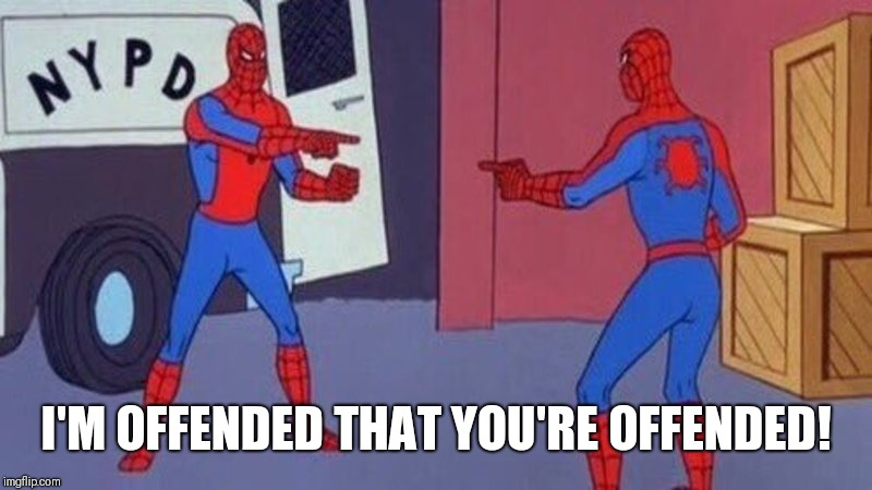 spiderman pointing at spiderman | I'M OFFENDED THAT YOU'RE OFFENDED! | image tagged in spiderman pointing at spiderman | made w/ Imgflip meme maker