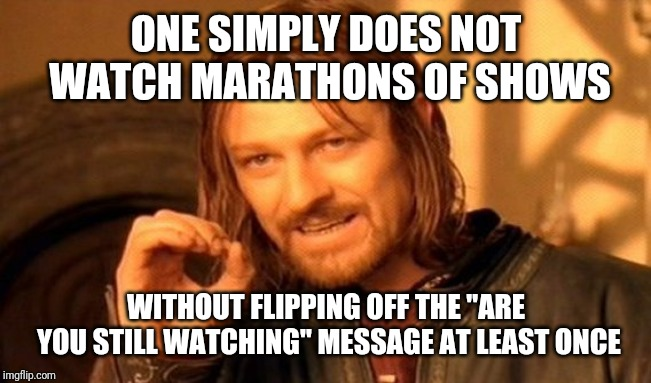 "One Does Not Simply Meme | ONE SIMPLY DOES NOT WATCH MARATHONS OF SHOWS WITHOUT FLIPPING OFF THE ""ARE YOU STILL WATCHING"" MESSAGE AT LEAST ONCE 