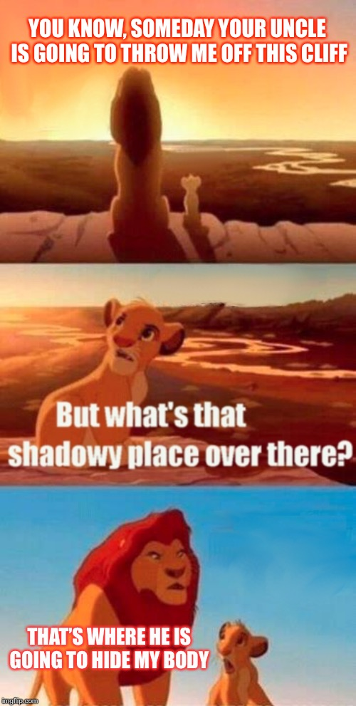 Simba Shadowy Place | YOU KNOW, SOMEDAY YOUR UNCLE IS GOING TO THROW ME OFF THIS CLIFF THAT'S WHERE HE IS GOING TO HIDE MY BODY | image tagged in memes,simba shadowy place | made w/ Imgflip meme maker