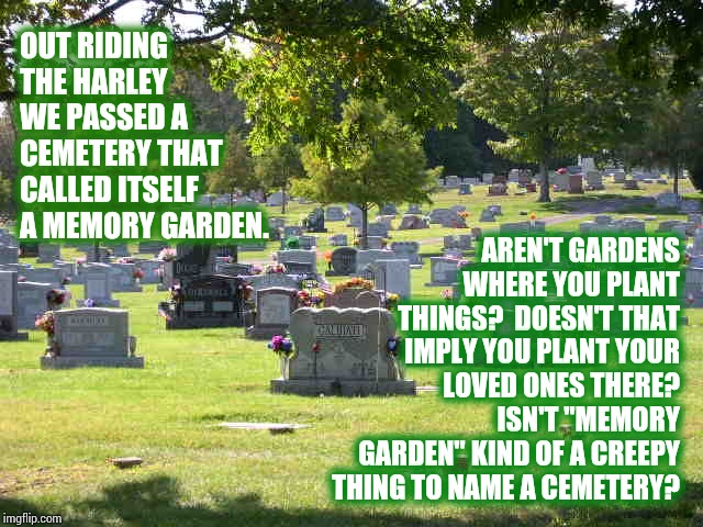 Jeepers Creepers | OUT RIDING THE HARLEY WE PASSED A CEMETERY THAT CALLED ITSELF A MEMORY GARDEN. AREN'T GARDENS WHERE YOU PLANT THINGS?  DOESN'T THAT IMPLY YO | image tagged in cemetery,creepy,freaky,say what,memes,and that's all i have to say about that | made w/ Imgflip meme maker