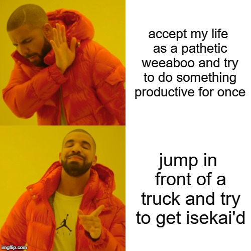Drake Hotline Bling Meme | accept my life as a pathetic weeaboo and try to do something productive for once jump in front of a truck and try to get isekai'd | image tagged in memes,drake hotline bling | made w/ Imgflip meme maker