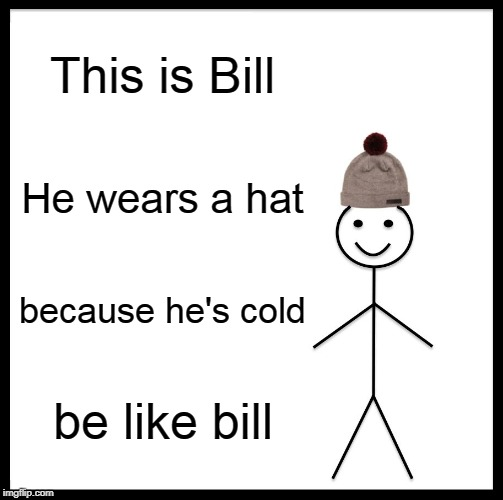Be Like Bill Meme | This is Bill He wears a hat because he's cold be like bill | image tagged in memes,be like bill | made w/ Imgflip meme maker