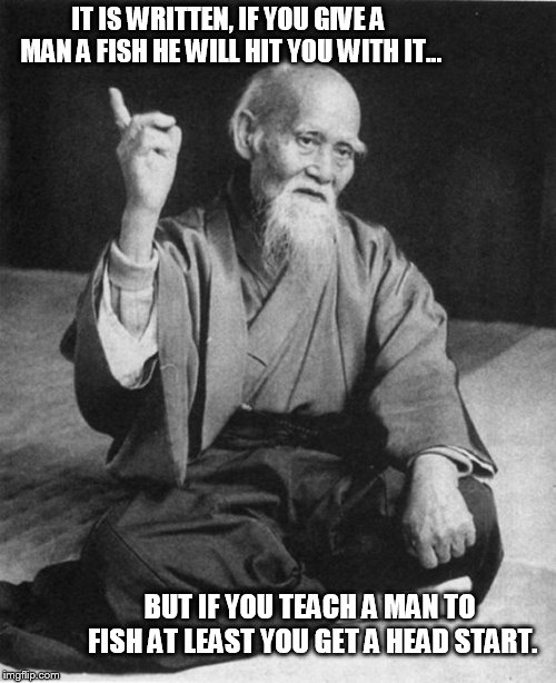 Picture a man running after you wielding a deadly fish.... | IT IS WRITTEN, IF YOU GIVE A MAN A FISH HE WILL HIT YOU WITH IT... BUT IF YOU TEACH A MAN TO FISH AT LEAST YOU GET A HEAD START. | image tagged in wise master | made w/ Imgflip meme maker