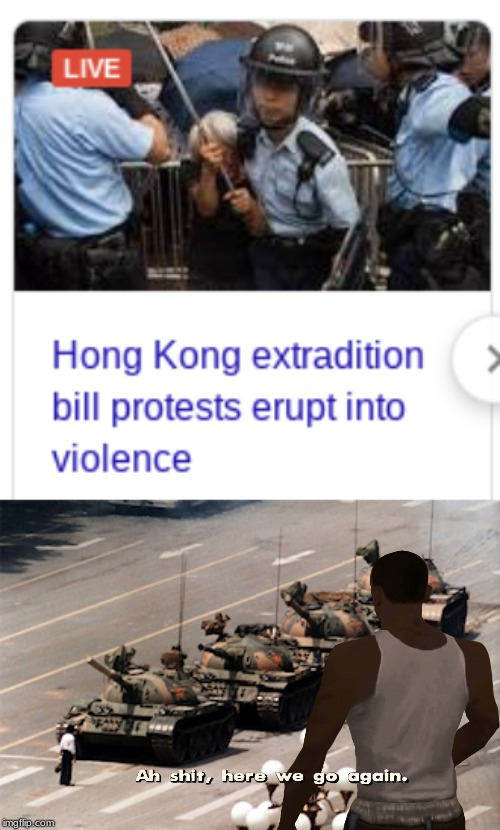 Tiananmen Square 2: Massacre Boogaloo | image tagged in china,cj,ah shit here we go again | made w/ Imgflip meme maker