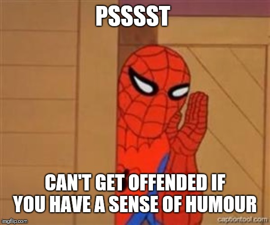psst spiderman | PSSSST CAN'T GET OFFENDED IF YOU HAVE A SENSE OF HUMOUR | image tagged in psst spiderman | made w/ Imgflip meme maker