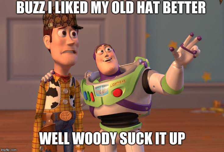 woody new hat |  BUZZ I LIKED MY OLD HAT BETTER; WELL WOODY SUCK IT UP | image tagged in memes | made w/ Imgflip meme maker