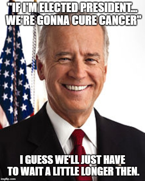 "That's quite a campaign promise, Joe! | ""IF I'M ELECTED PRESIDENT... WE'RE GONNA CURE CANCER"" I GUESS WE'LL JUST HAVE TO WAIT A LITTLE LONGER THEN. 