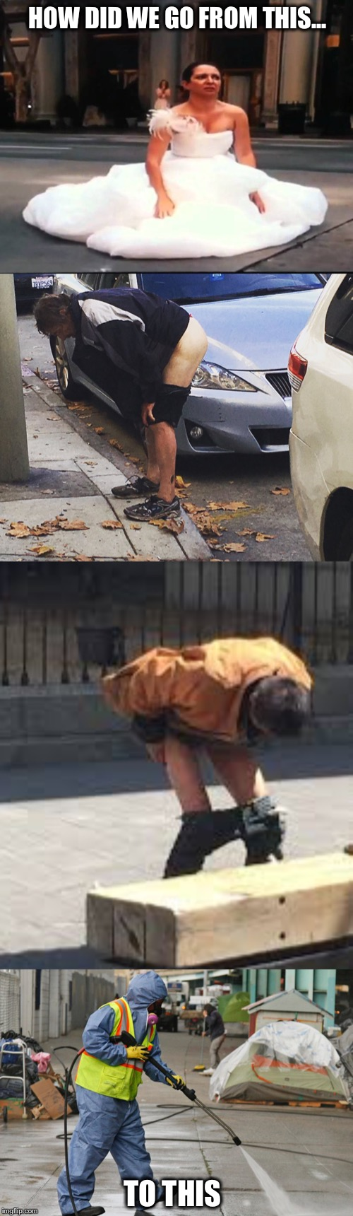 Shameless in SF:  Takin' it to the streets | HOW DID WE GO FROM THIS... TO THIS | image tagged in san francisco,bridesmaids,take a dump,homeless | made w/ Imgflip meme maker