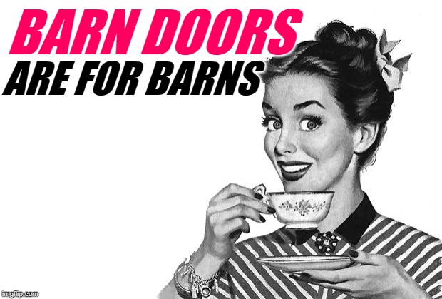 DIY Barn Doors Pro Tip | BARN DOORS ARE FOR BARNS | image tagged in 1950s housewife,funny memes,trends,diy,duh,design | made w/ Imgflip meme maker