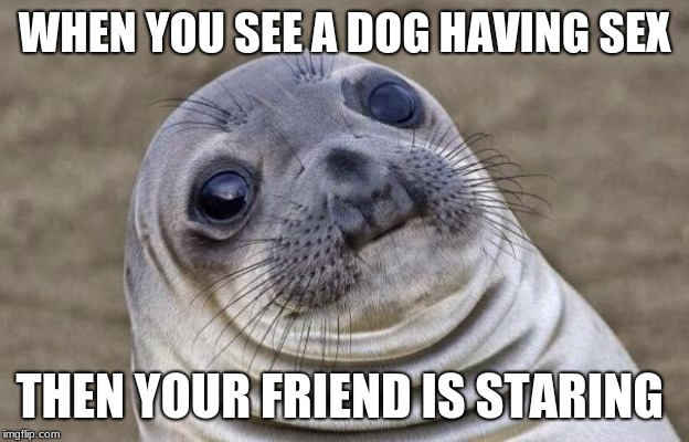 Awkward Moment Sealion Meme | WHEN YOU SEE A DOG HAVING SEX THEN YOUR FRIEND IS STARING | image tagged in memes,awkward moment sealion | made w/ Imgflip meme maker