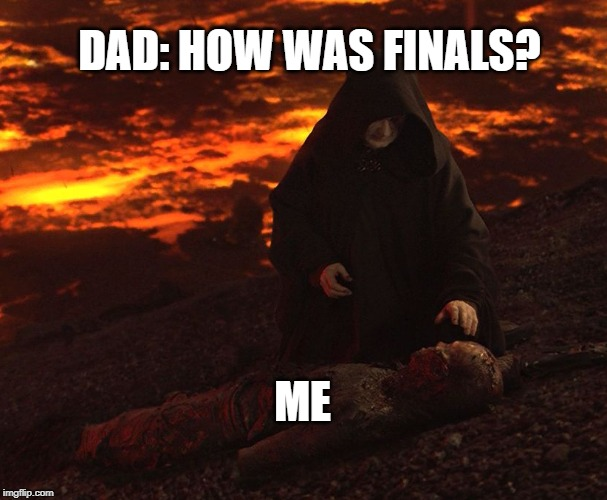 Finals Week | DAD: HOW WAS FINALS? ME | image tagged in finals | made w/ Imgflip meme maker