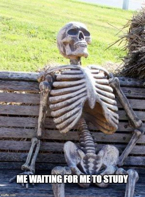 Waiting Skeleton | ME WAITING FOR ME TO STUDY | image tagged in memes,waiting skeleton | made w/ Imgflip meme maker