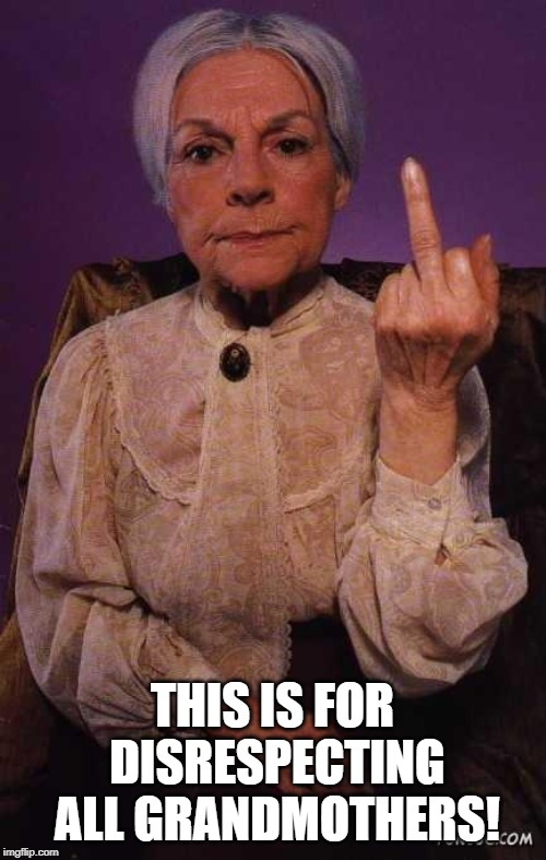 middle finger grandma | THIS IS FOR DISRESPECTING ALL GRANDMOTHERS! | image tagged in middle finger grandma | made w/ Imgflip meme maker