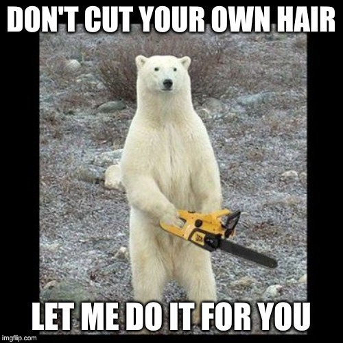 Chainsaw Bear Meme | DON'T CUT YOUR OWN HAIR LET ME DO IT FOR YOU | image tagged in memes,chainsaw bear | made w/ Imgflip meme maker