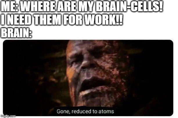 gone reduced to atoms | ME: WHERE ARE MY BRAIN-CELLS! I NEED THEM FOR WORK!! BRAIN: | image tagged in gone reduced to atoms,brain cells,iq,work,marvel,thanos | made w/ Imgflip meme maker