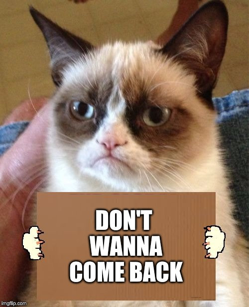 Grumpy Cat Cardboard Sign | DON'T WANNA COME BACK | image tagged in grumpy cat cardboard sign | made w/ Imgflip meme maker