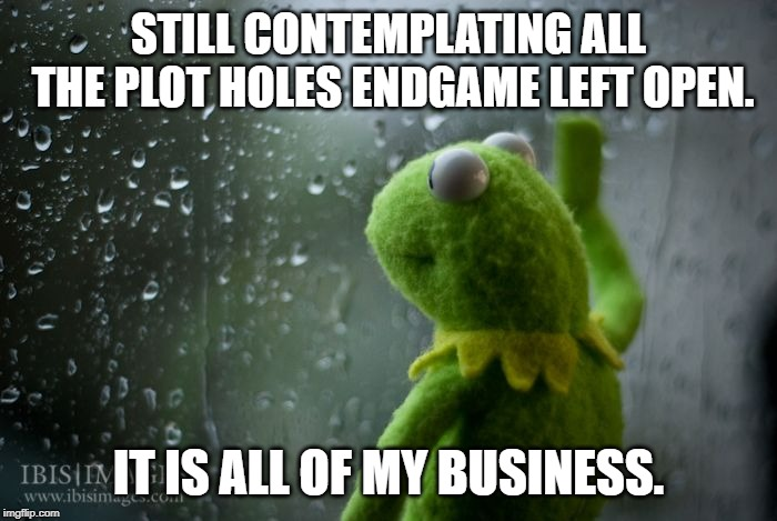 Endgame plot holes. | STILL CONTEMPLATING ALL THE PLOT HOLES ENDGAME LEFT OPEN. IT IS ALL OF MY BUSINESS. | image tagged in kermit window,avengers endgame | made w/ Imgflip meme maker