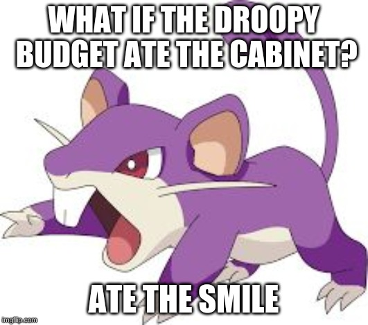 Rattata |  WHAT IF THE DROOPY BUDGET ATE THE CABINET? ATE THE SMILE | image tagged in rattata | made w/ Imgflip meme maker