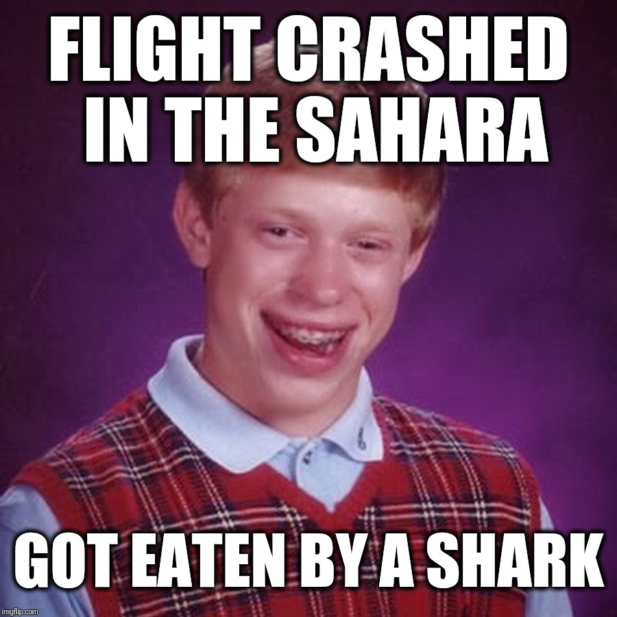 What's For Dessert? | FLIGHT CRASHED IN THE SAHARA GOT EATEN BY A SHARK | image tagged in blb,bad luck brian,airplane,plane crash,sharks,funny meme | made w/ Imgflip meme maker