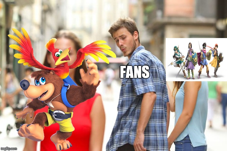 Late Smash Bros. Meme | FANS | image tagged in memes,distracted boyfriend,super smash bros,banjo,dragon quest,nintendo | made w/ Imgflip meme maker