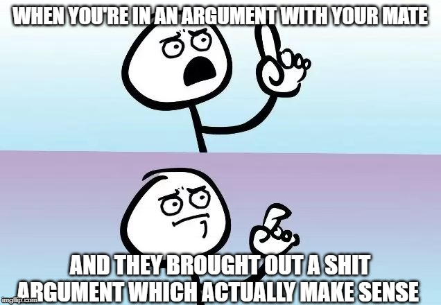 WHEN YOU'RE IN AN ARGUMENT WITH YOUR MATE AND THEY BROUGHT OUT A SHIT ARGUMENT WHICH ACTUALLY MAKE SENSE | image tagged in speechless stickman | made w/ Imgflip meme maker