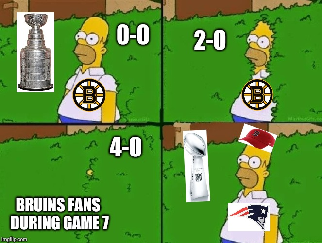 HOMER BUSH |  2-0; 0-0; 4-0; BRUINS FANS DURING GAME 7 | image tagged in homer bush | made w/ Imgflip meme maker