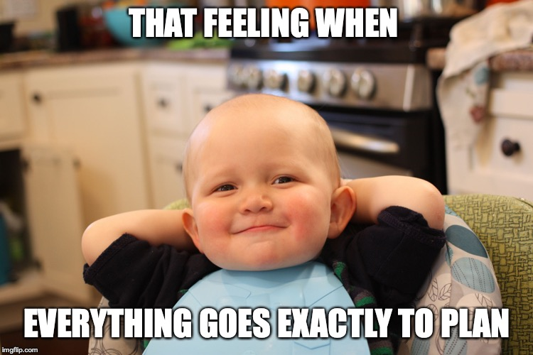 Baby Boss Relaxed Smug Content | THAT FEELING WHEN EVERYTHING GOES EXACTLY TO PLAN | image tagged in baby boss relaxed smug content | made w/ Imgflip meme maker