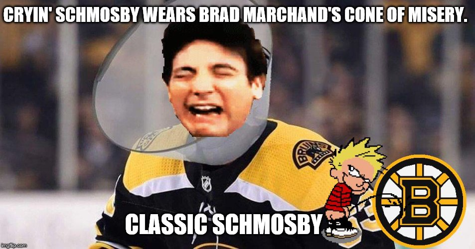 Cryin' Schmosby cries over the Bruins losing the Stanley Cup. | CRYIN' SCHMOSBY WEARS BRAD MARCHAND'S CONE OF MISERY. CLASSIC SCHMOSBY | image tagged in stanley cup,ted | made w/ Imgflip meme maker