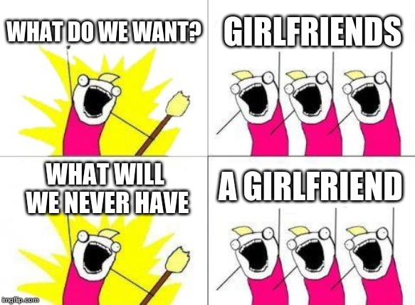 What Do We Want | WHAT DO WE WANT? GIRLFRIENDS WHAT WILL WE NEVER HAVE A GIRLFRIEND | image tagged in memes,what do we want | made w/ Imgflip meme maker