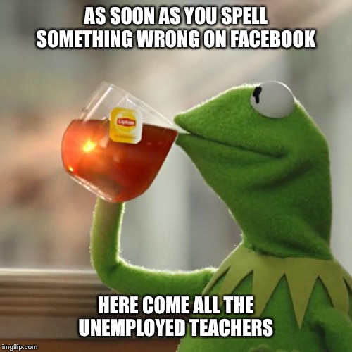 But Thats None Of My Business Meme | AS SOON AS YOU SPELL SOMETHING WRONG ON FACEBOOK HERE COME ALL THE UNEMPLOYED TEACHERS | image tagged in memes,but thats none of my business,kermit the frog,spelling,teacher,grammar | made w/ Imgflip meme maker